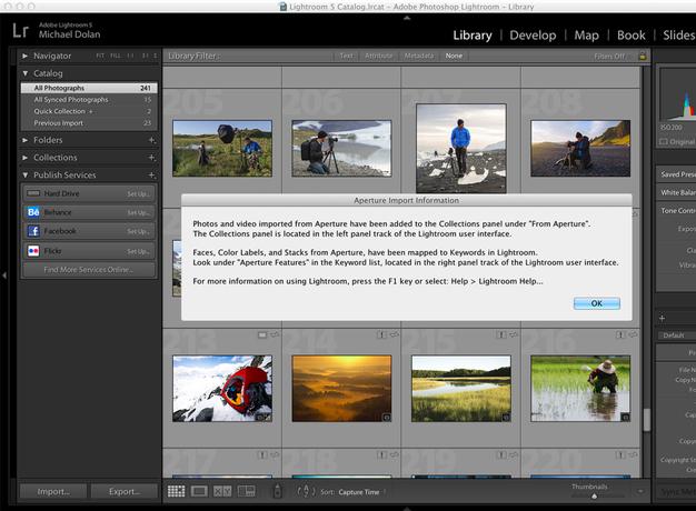 Lanci Lightroom 5,7 di Adobe con lo strumento incorporato di migrazione per lapertura e il iPhoto [blog del mackintosh]