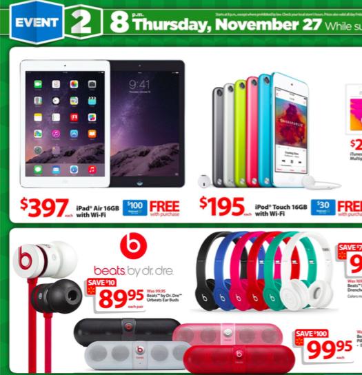 Wal Mart che offre le carte di regalo con lacquisto dei iPads e di più Discounted su Black Friday [blog dellIOS]