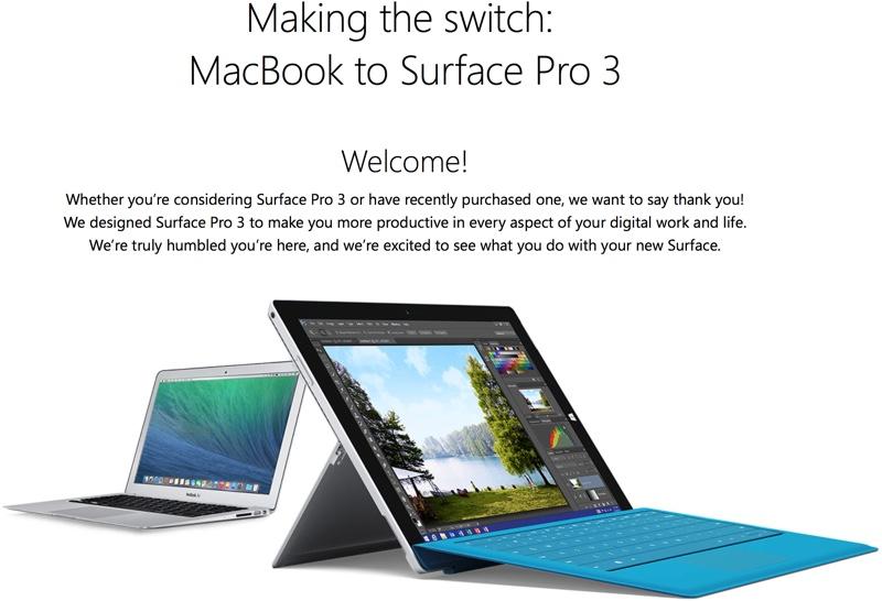 Sito di lanci di Microsoft per attirare gli scambisti di MacBook per affiorare pro 3