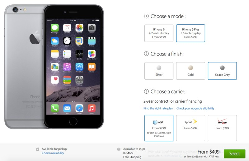 Il deposito online di Apple negli Stati Uniti. Ora elencando tutti i modelli più di iPhone 6 e 6 come in azione