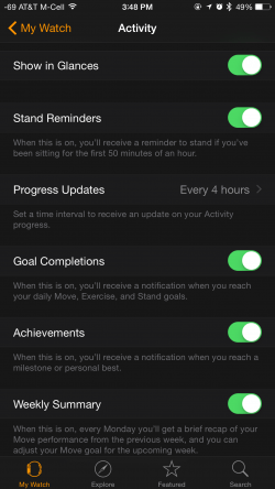 Activity Notifications Apple Watch