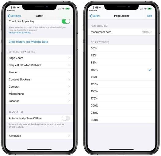 safari website settings in iOS 13
