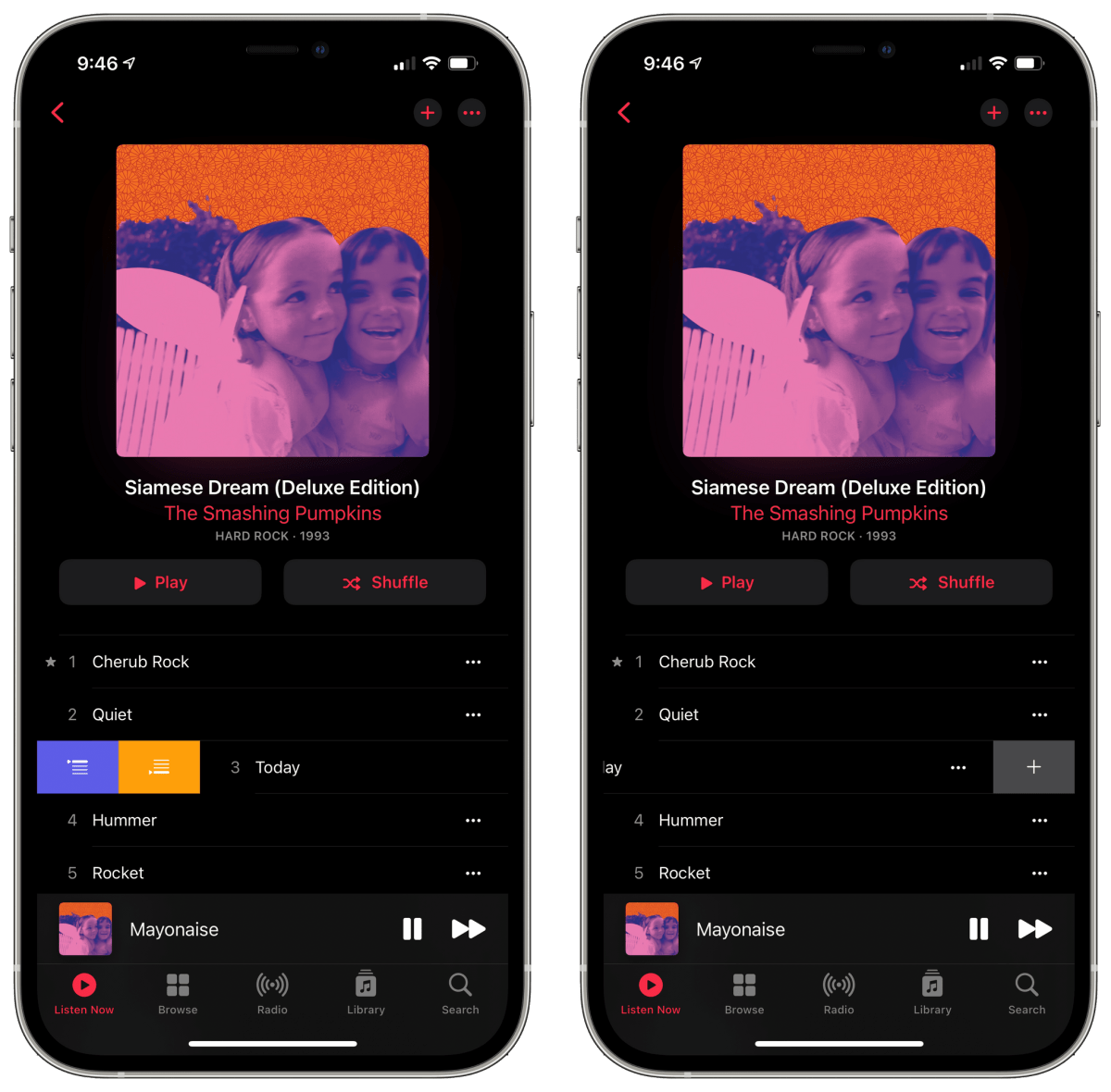 New swipe gestures in the Music app for iOS 14.5.