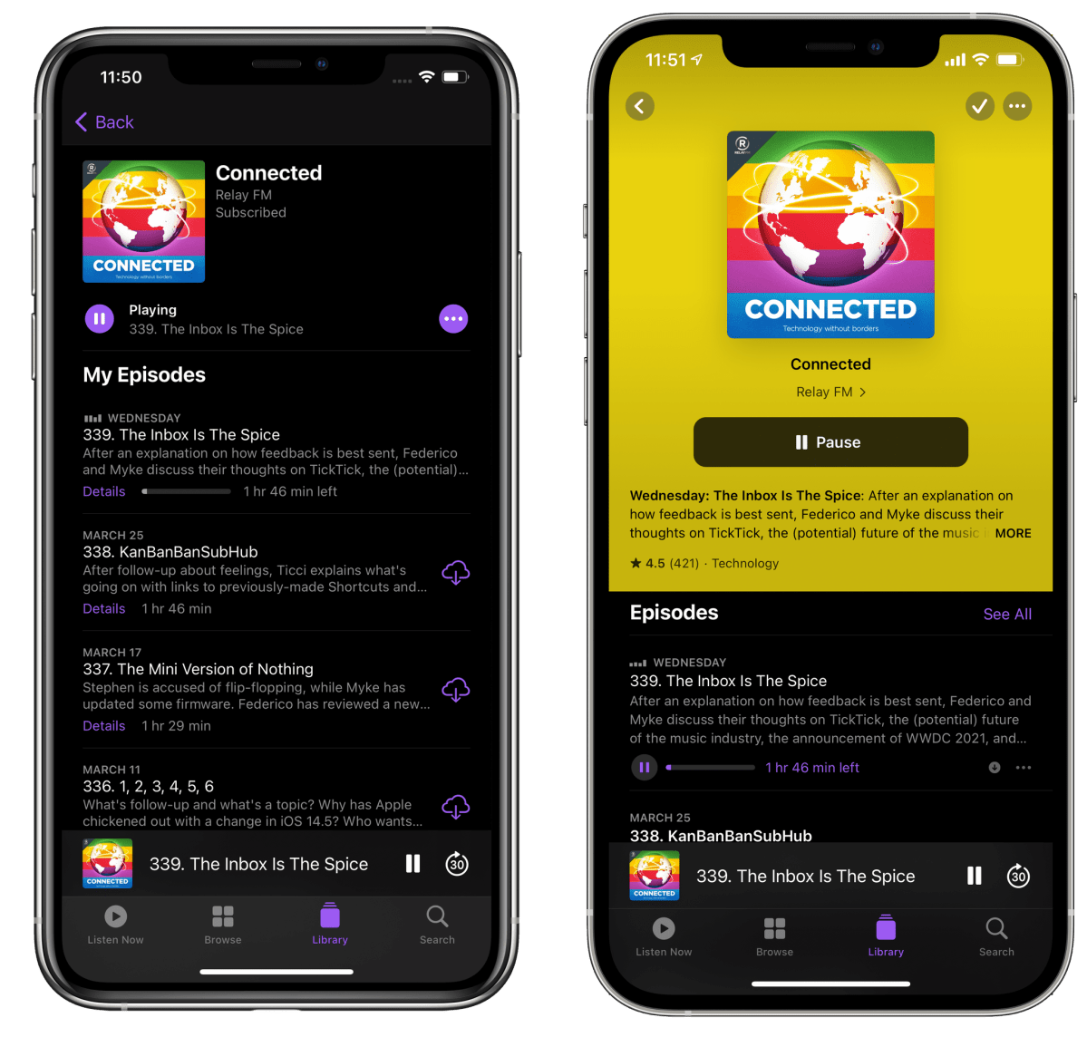 Redesigned show pages in Podcasts (right) put greater emphasis on show artwork and playback controls.
