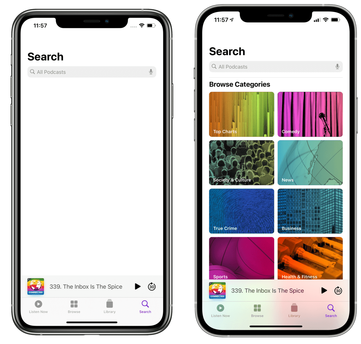 Tell me you're feeling the pressure from Spotify without telling me you're feeling the pressure from Spotify. (Pictured left: iOS 14.4's old search page in Podcasts.)