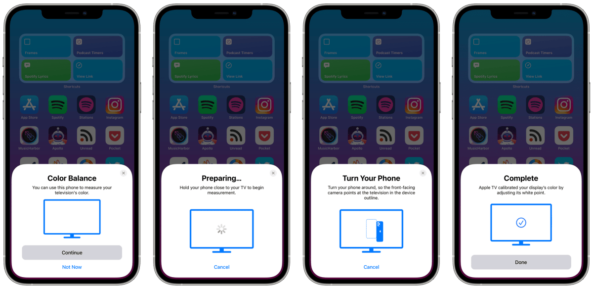 The color calibration prompts displayed on iPhone.