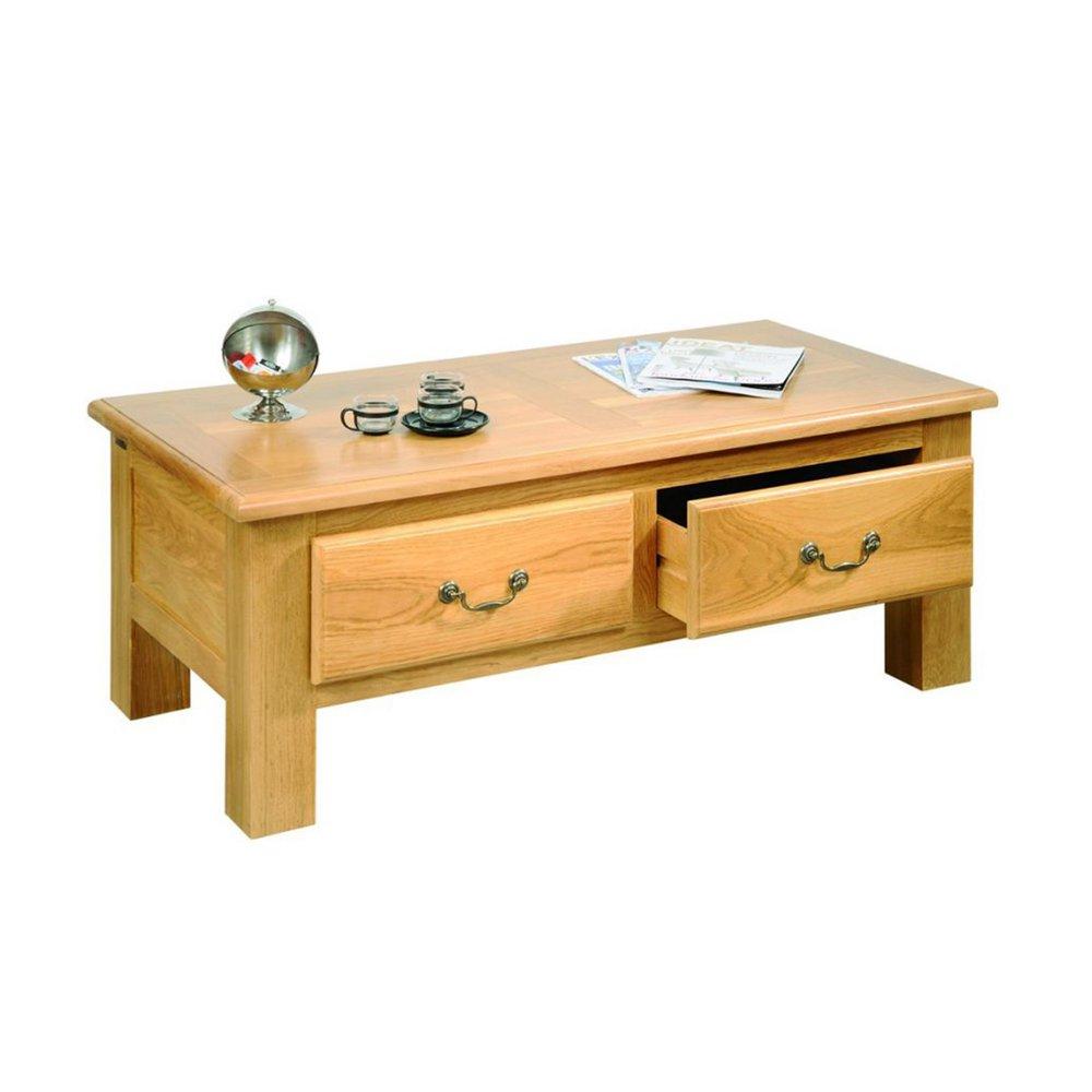 table basse 2 tiroirs en chene clair aurelia