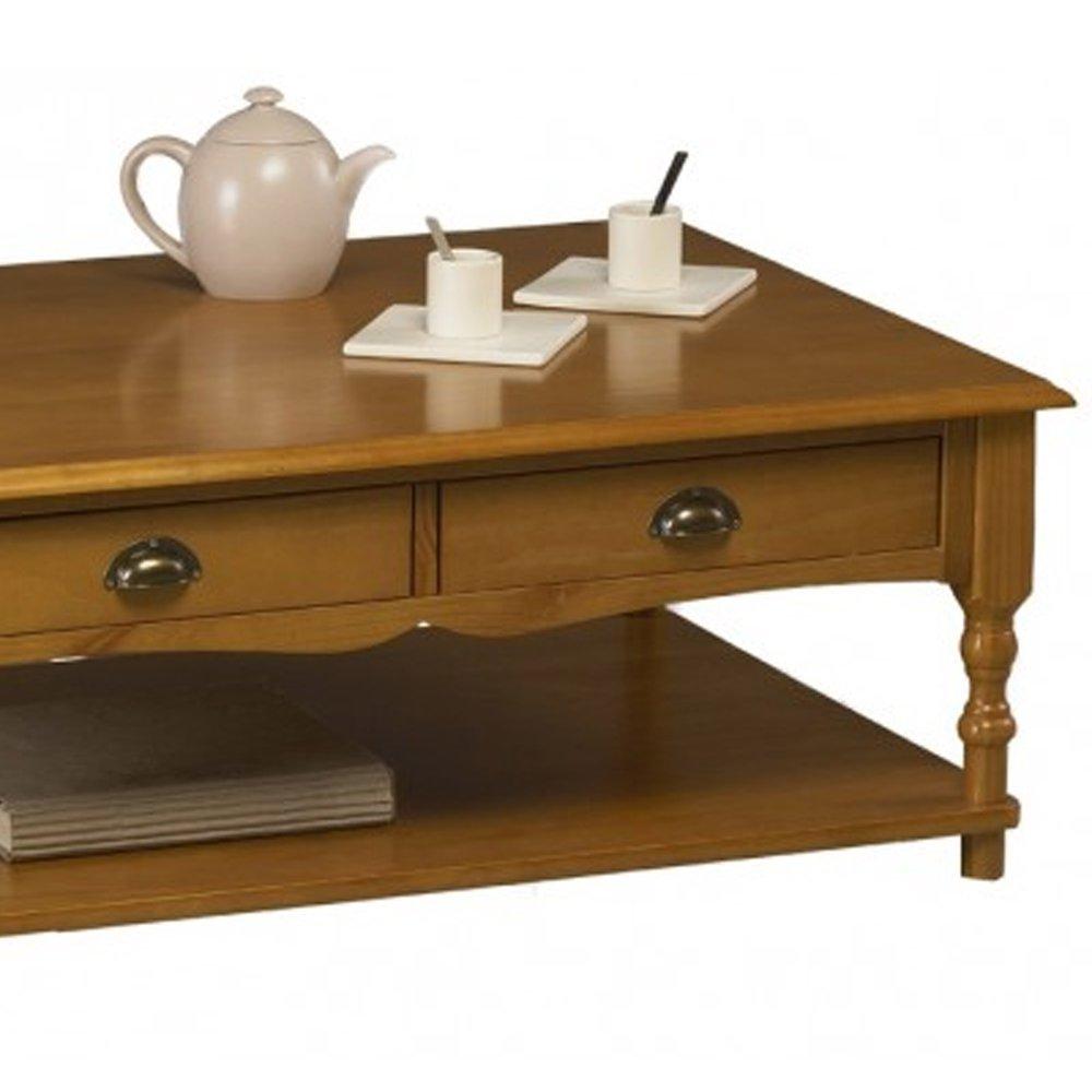 table basse rectangulaire de style anglais en pin miel authentic pin miel