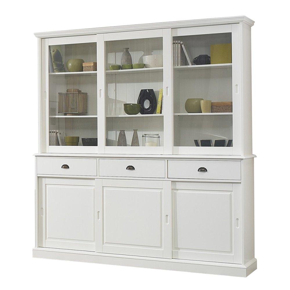 bibliotheque blanche vaisselier blanc 6 portes coulissantes