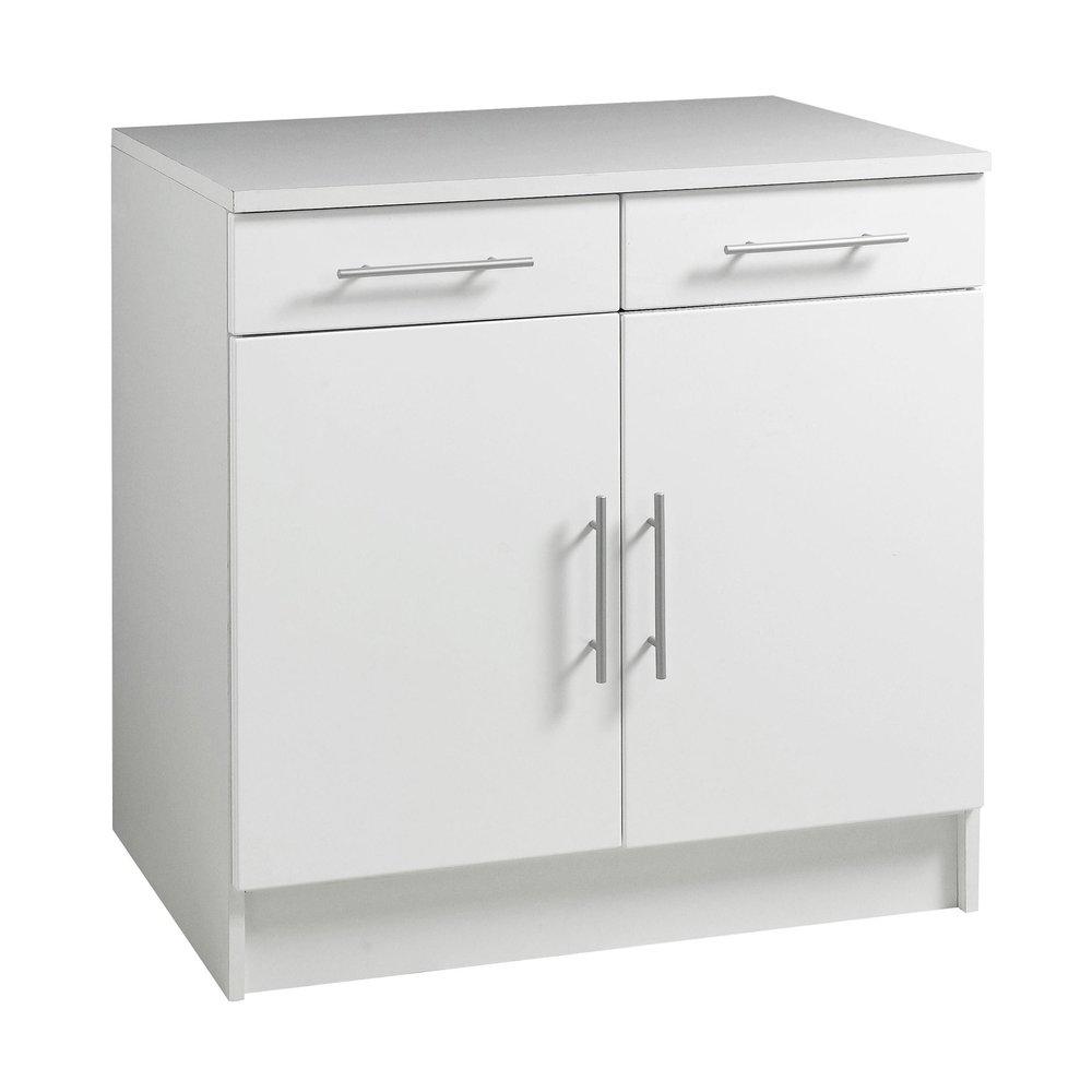 bas profondeur 60cm largeur 80cm 2 portes 2 tiroirs blanc