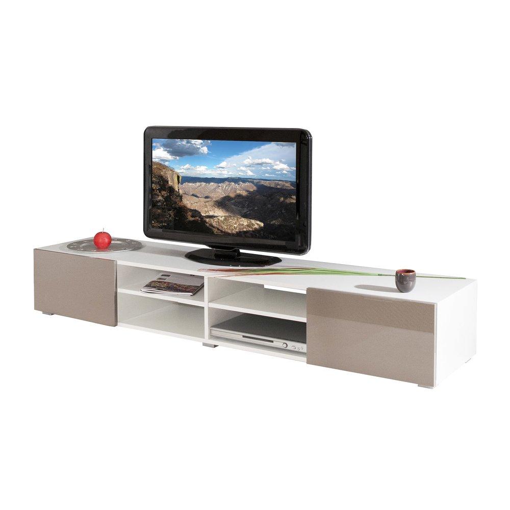 meuble tv blanc 4 niches 2 tiroirs taupe laque