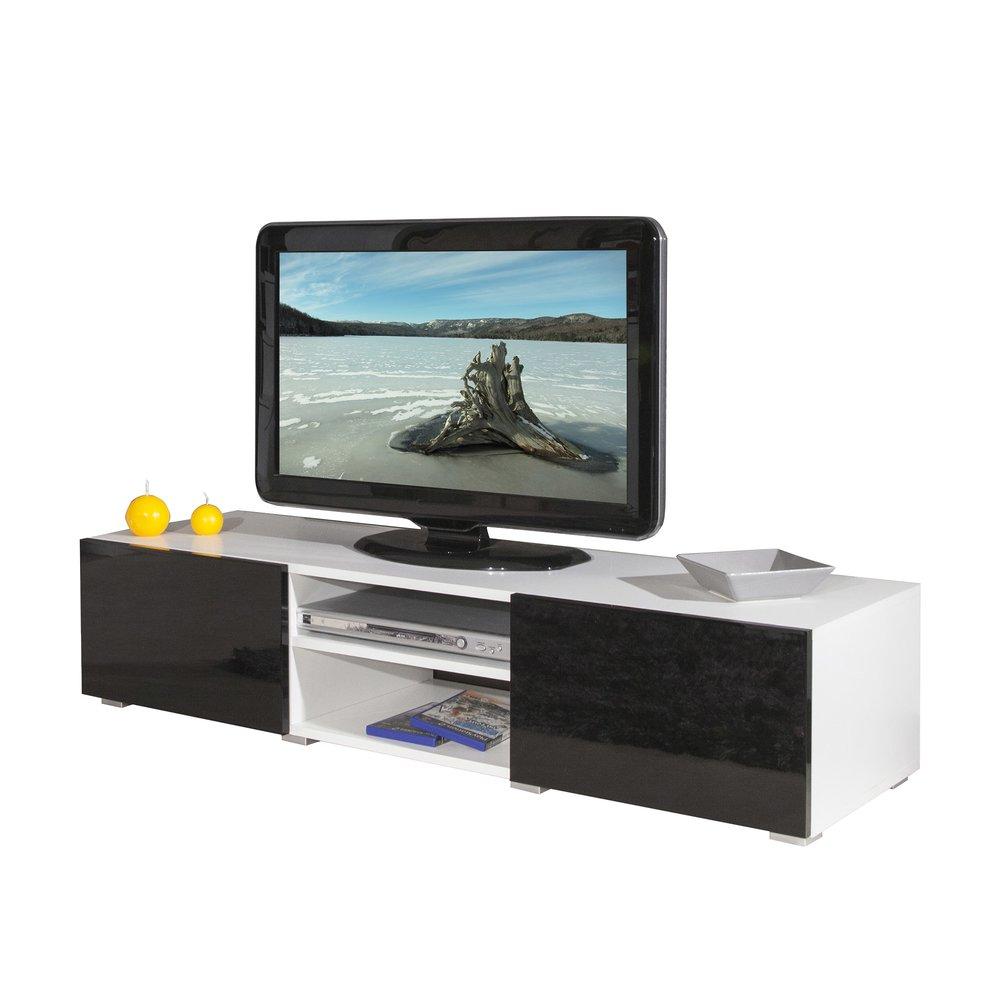 meuble tv 2 niches et 2 tiroirs noir laque et blanc