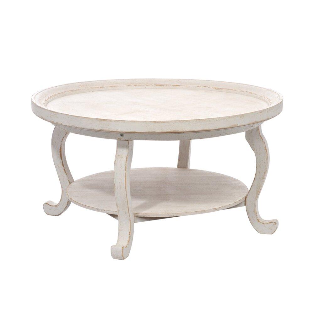 table ronde de salon en bois blanc