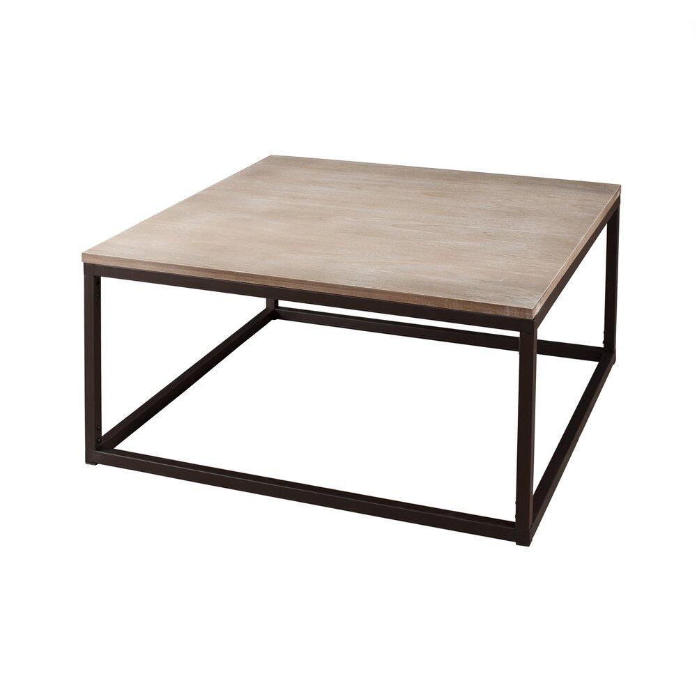 table basse carree 90 cm en bois et metal lasty