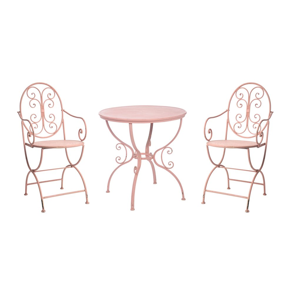 set 2 chaises avec table ronde fer forge fuchsia