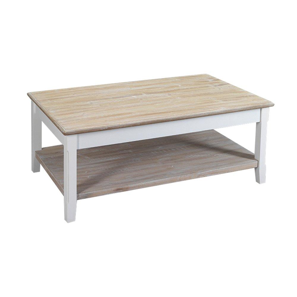 table basse 2 plateaux en bois 100x60x40 cm coloris blanc leonie