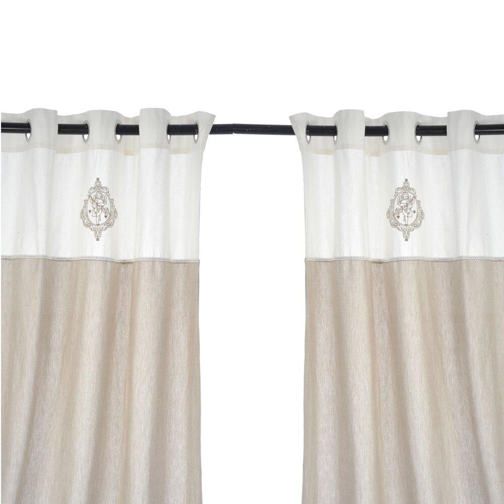 paire de rideaux 140x290cm en coton et lin coloris blanc angel