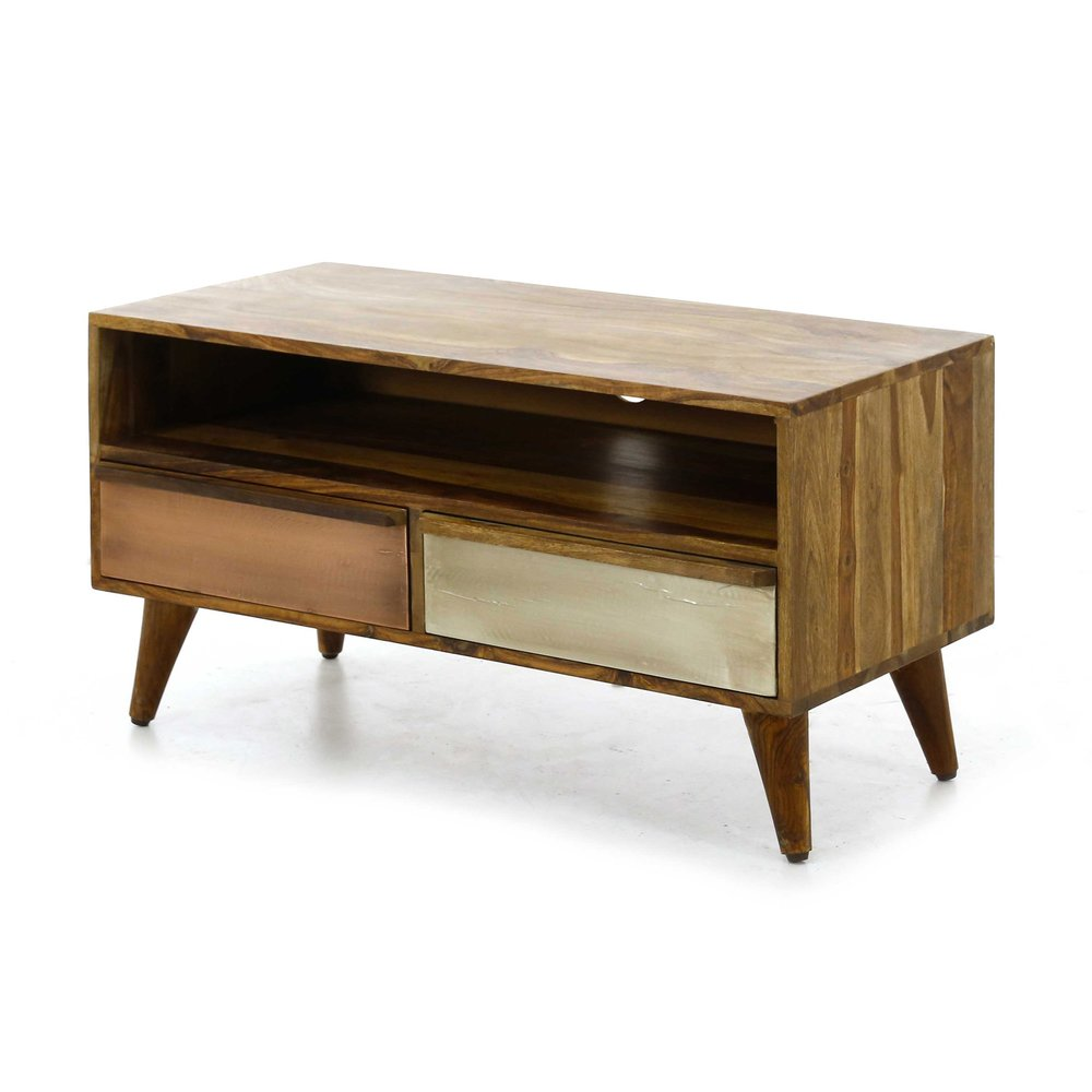 meuble tv 2 tiroirs et 1 niche plaque cuivre et argent retro cuivre