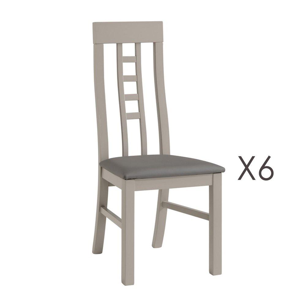lot de 6 chaises coloris chene grise zola