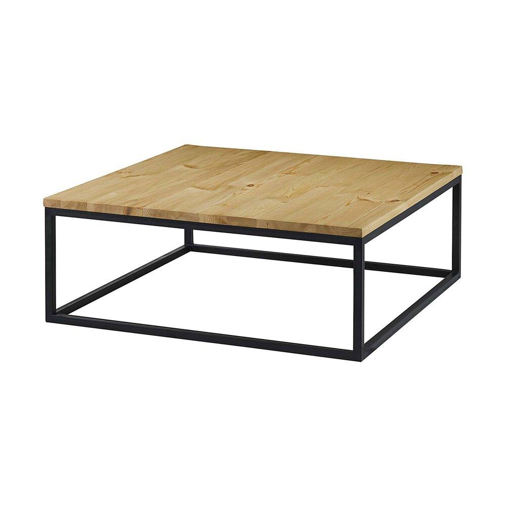 table basse carree 100 cm bois et metal ciudad