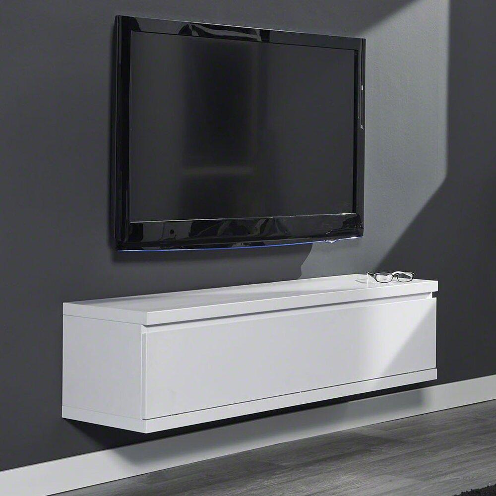 meuble de tele suspendu 120x35cm blanc mat