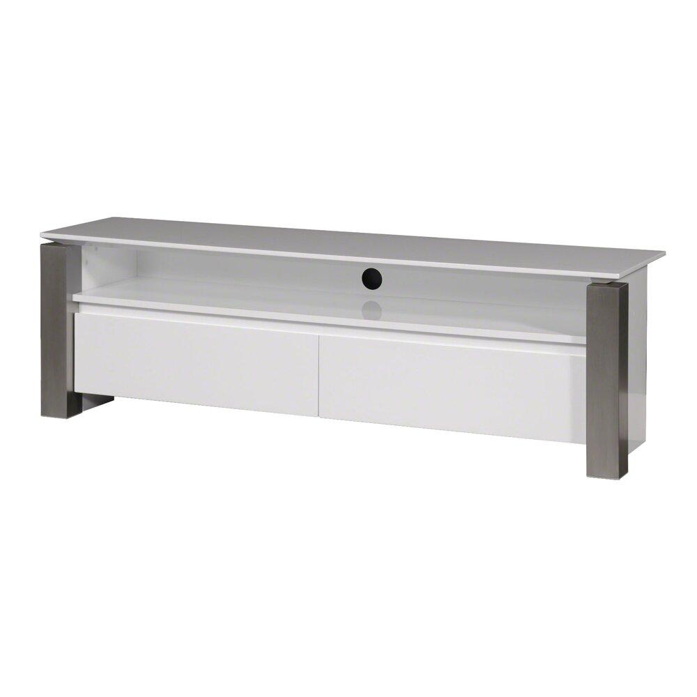 meuble tele 2 tiroirs blanc et pied avant en inox