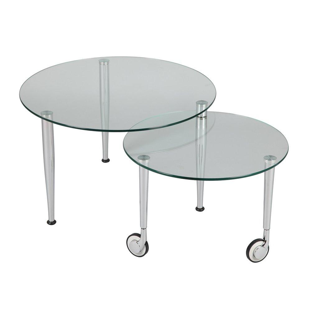 table basse sur roulettes modulable en verre glass