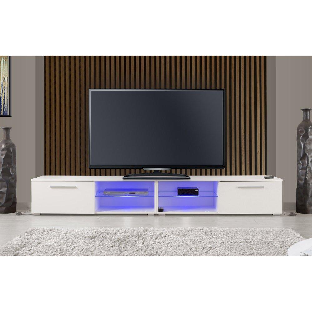 meuble tv 2 portes 240 cm blanc avec leds