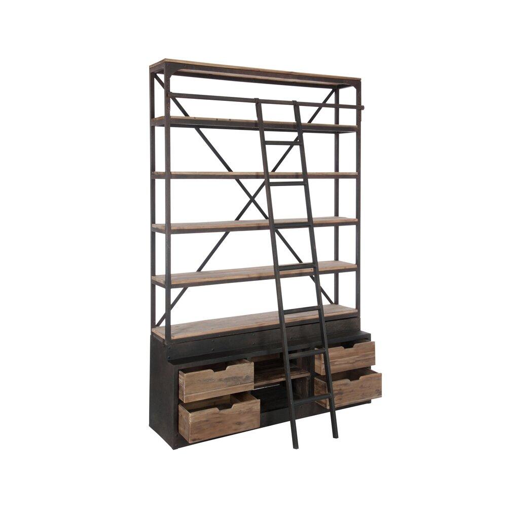 bibliotheque 4 etageres avec echelle en bois et metal