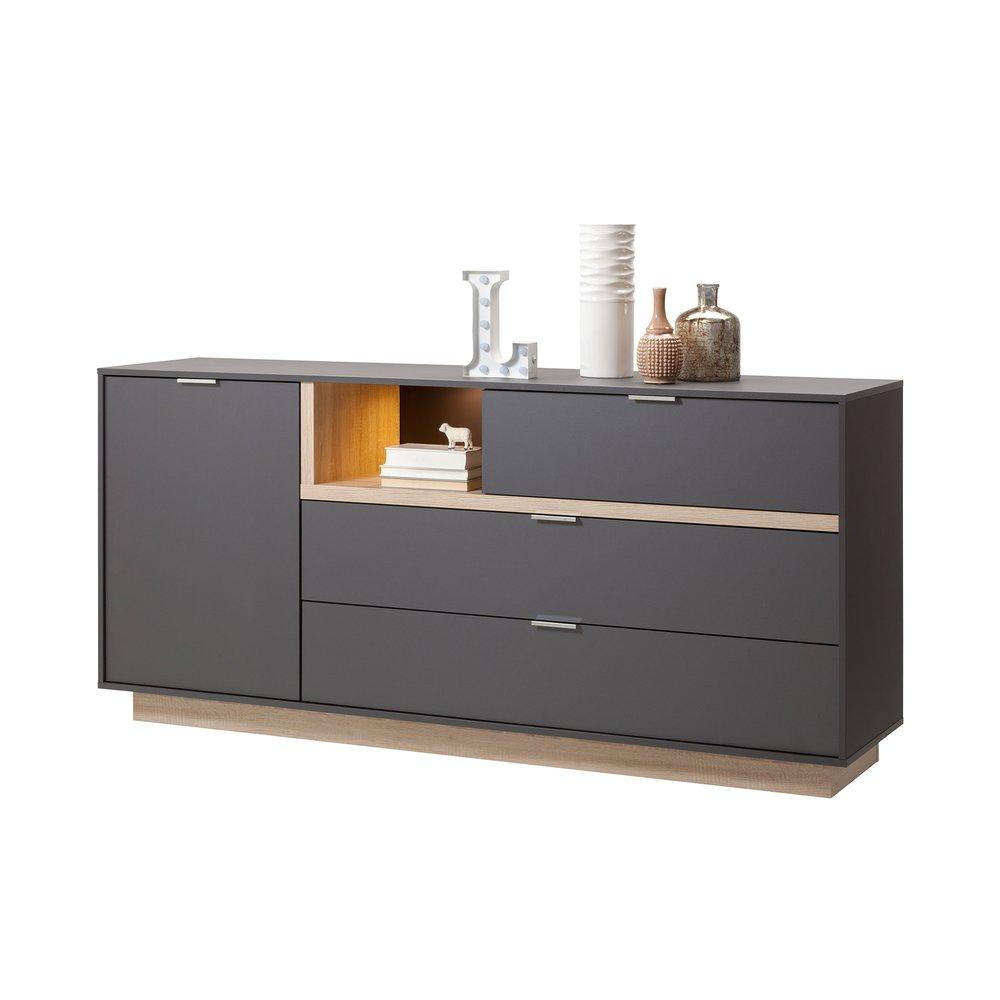 meuble tv 176x81x43cm anthracite et bois naturel