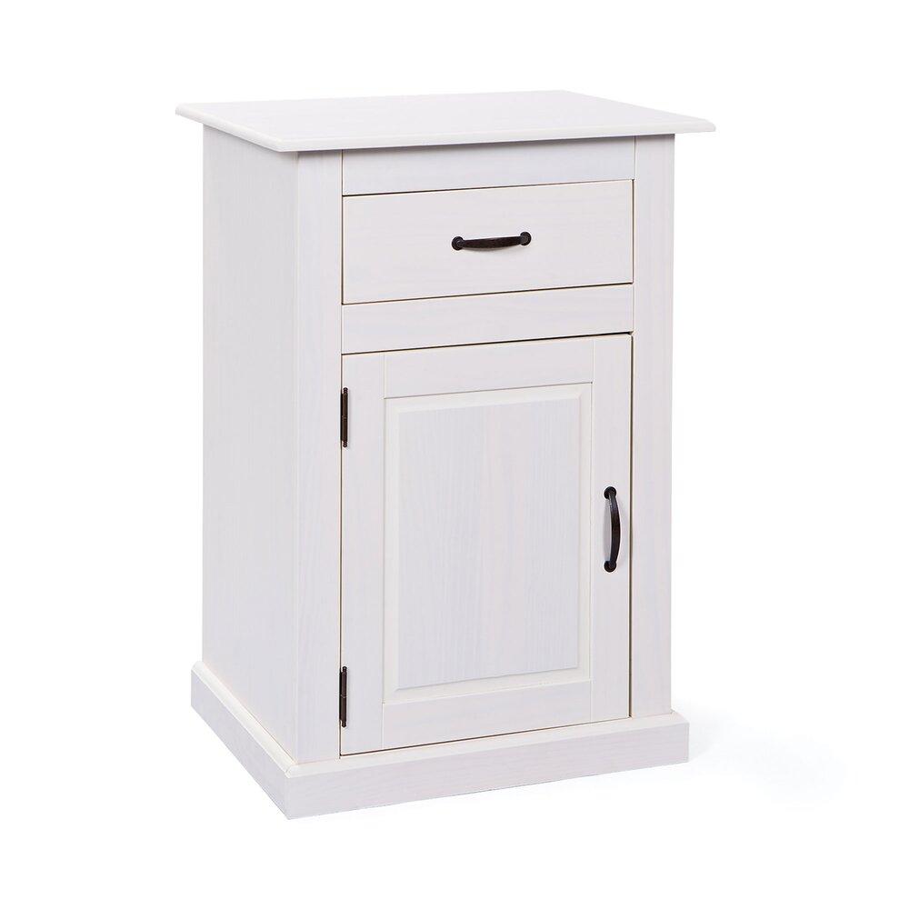Meuble 1 Porte Et 1 Tiroir En Pin Massif Blanc Aubagne Maison Et Styles