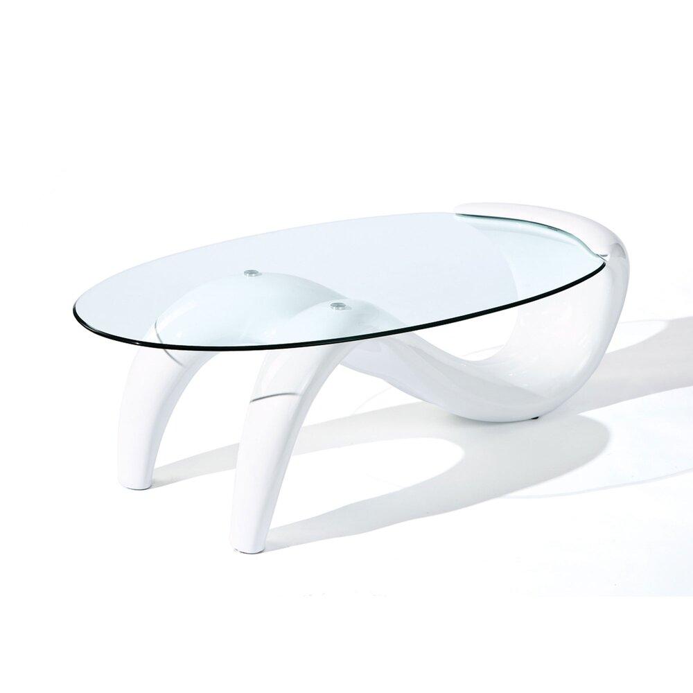 table basse avec plateau en verre blanc brillant bright