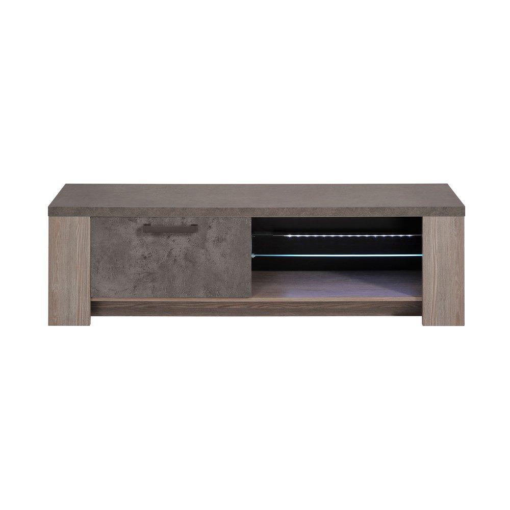 meuble tv 150 cm en chene fonce et plateau beton avec led rita