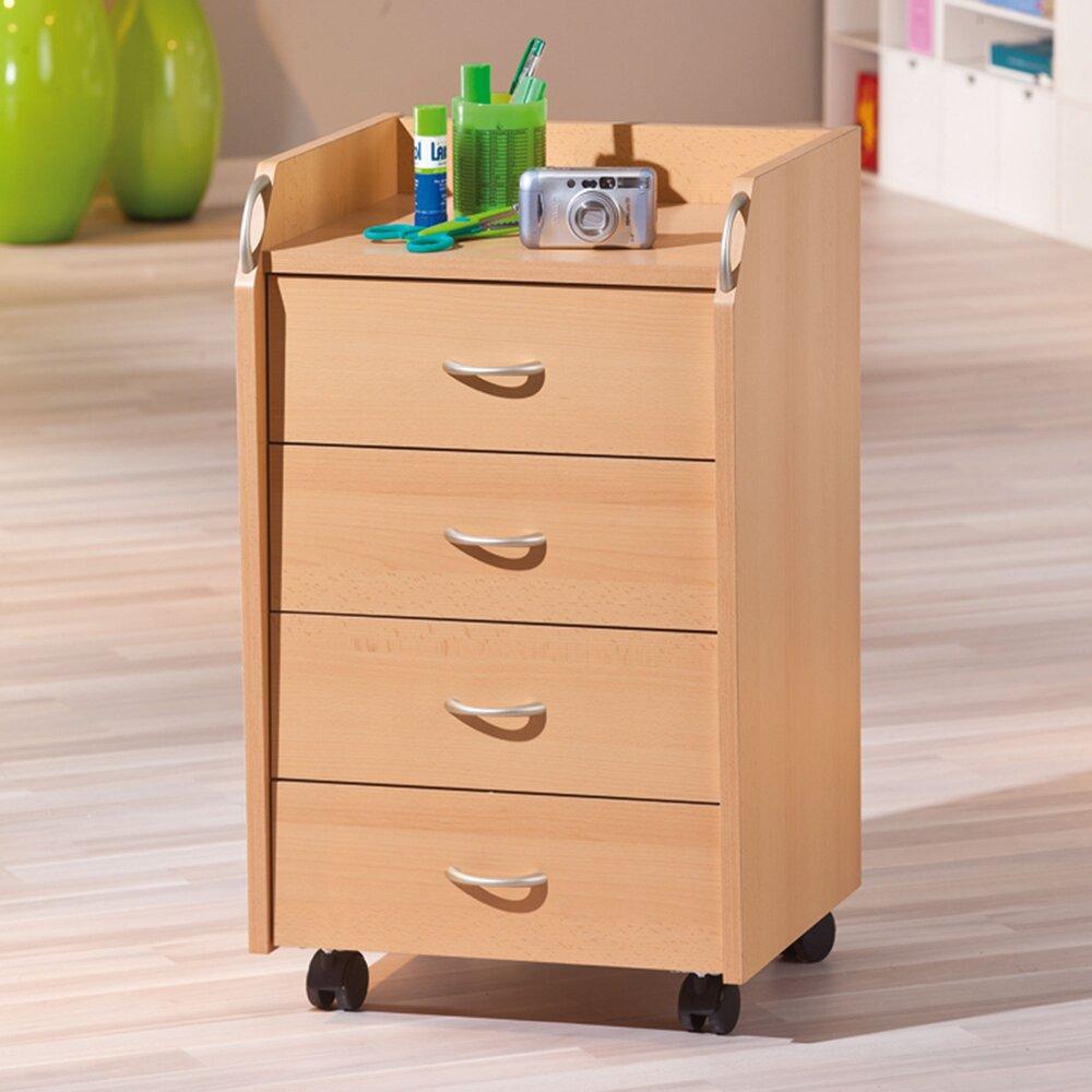 meuble de rangement 4 tiroirs avec roulettes hetre process