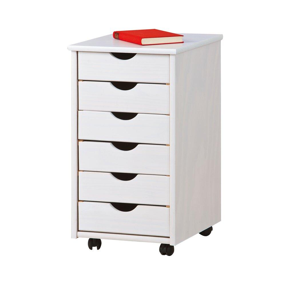 meuble de rangement 6 tiroirs en pin massif blanc modular