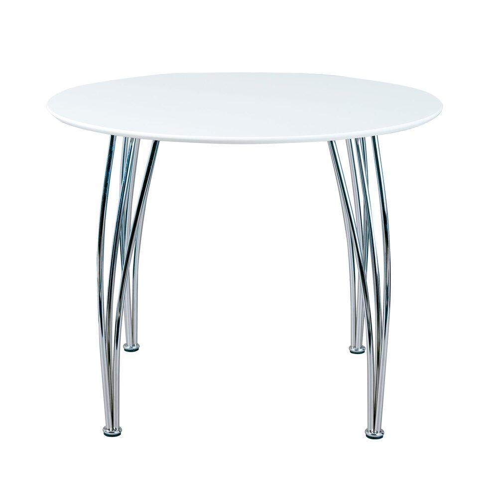 table ronde 100 cm blanc et pieds metal