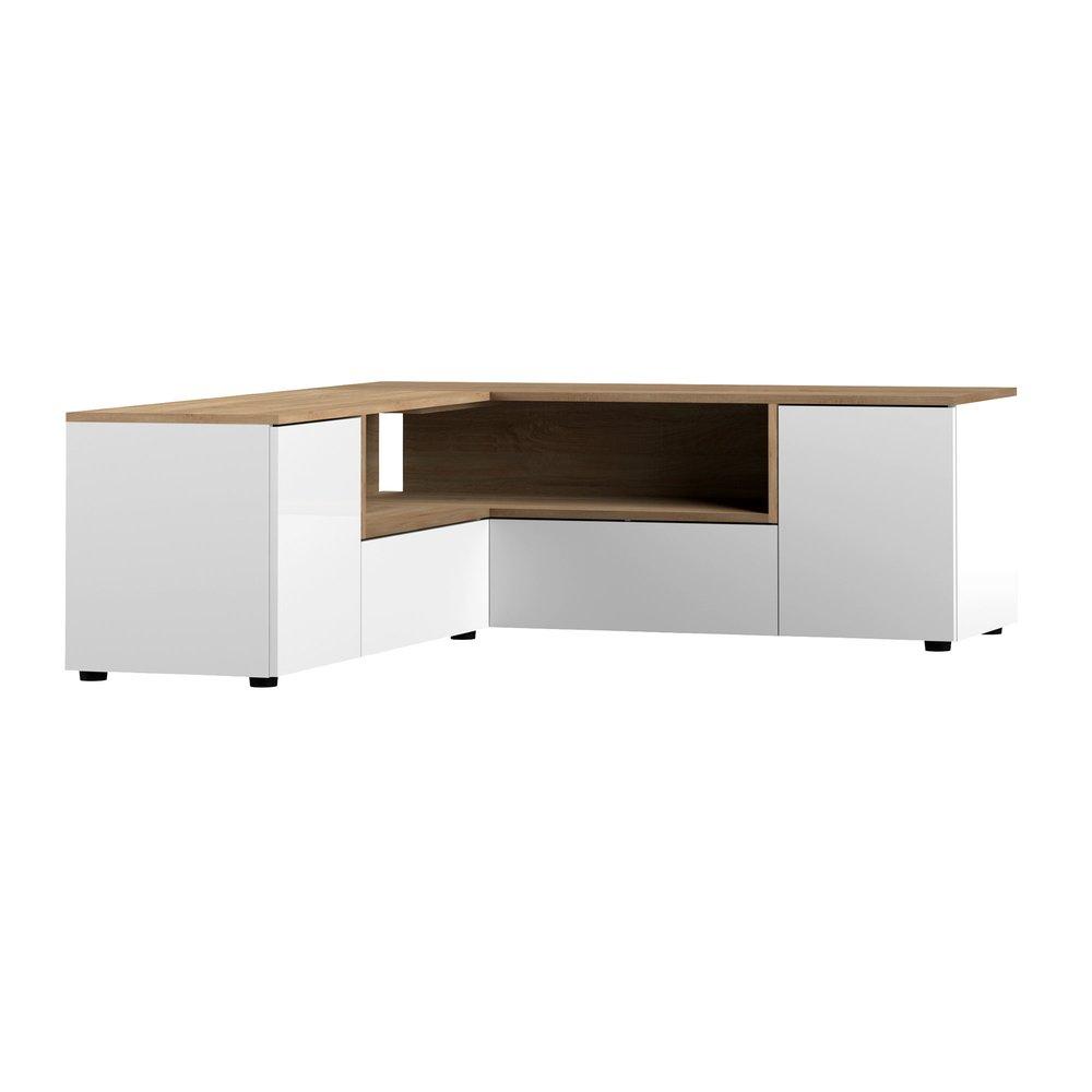 meuble tv d angle 130x130x46 cm blanc et chene squar