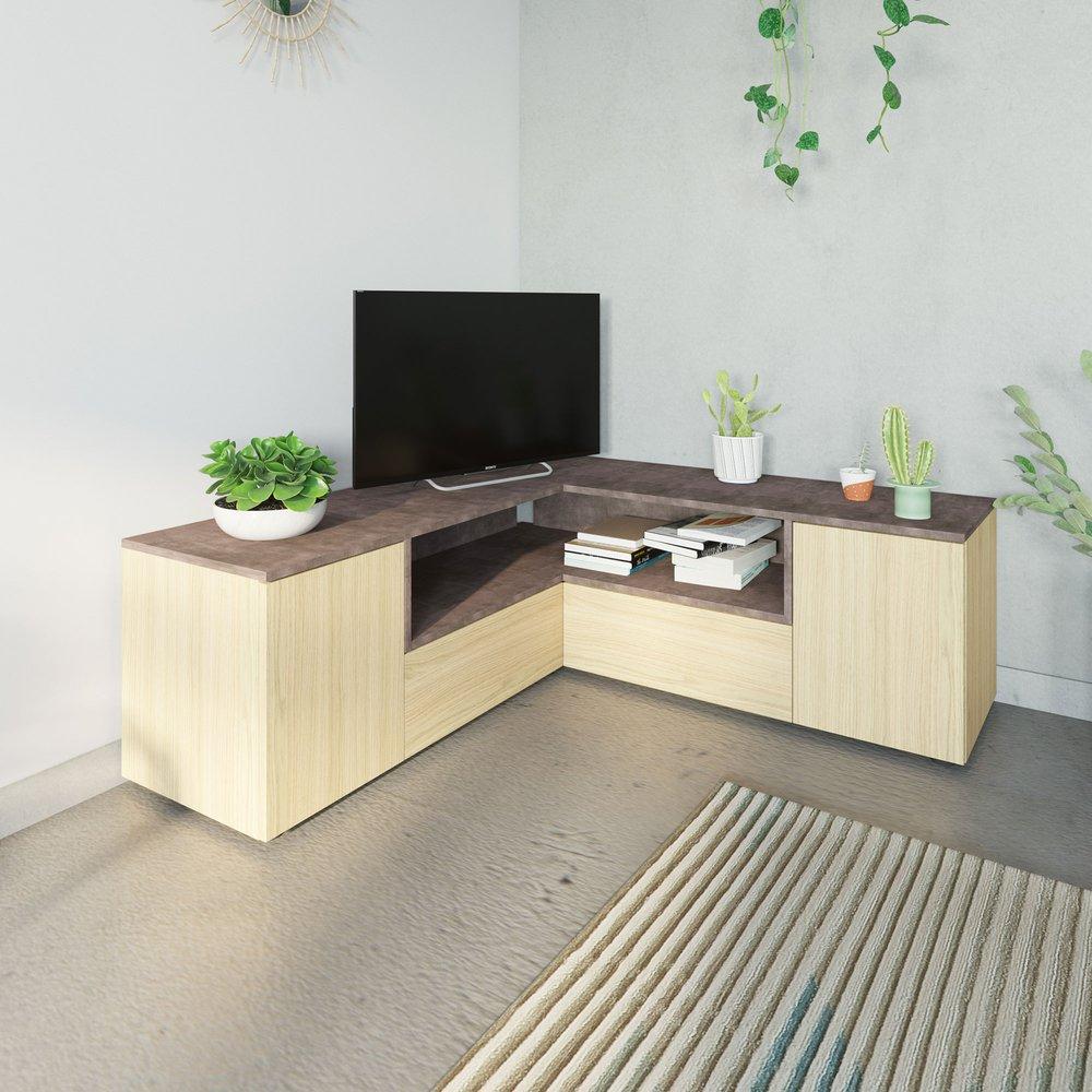 meuble tv d angle 130x130x46 cm chene et beton squar