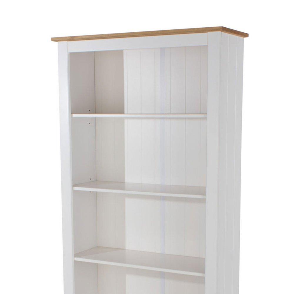 bibliotheque 4 etageres 80x30x177 cm blanc et naturel suzy