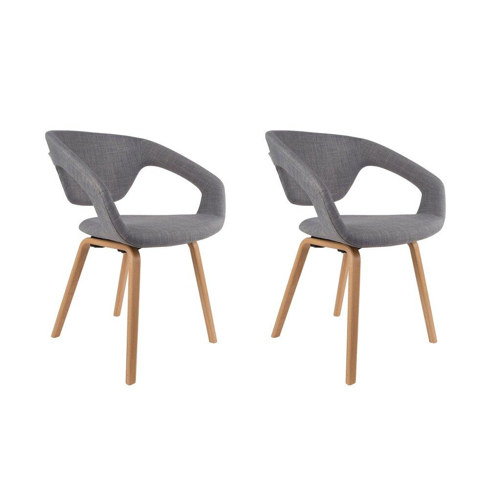lot de 2 chaises design en tissu gris et pieds naturel flexback