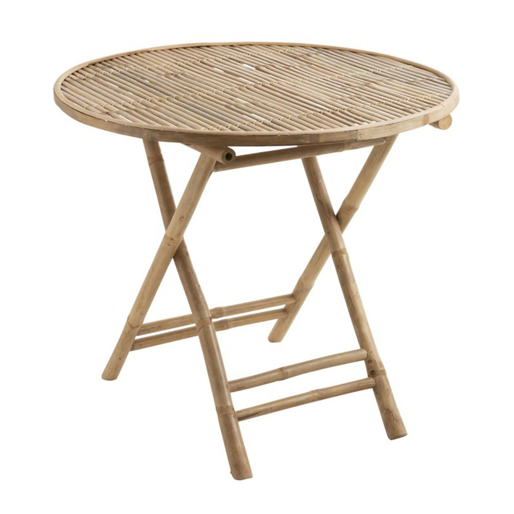 table ronde pliante 90x90x75 cm en bamboo naturel romy