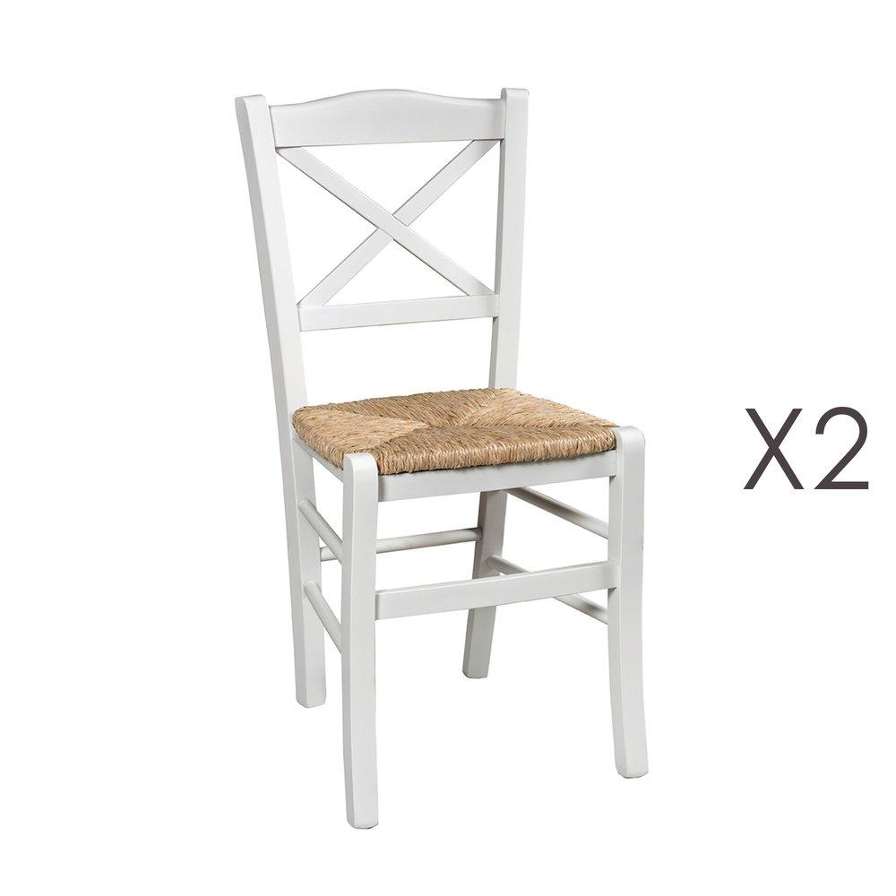 lot de 2 chaises avec assise en paille naturel et bois blanc istres