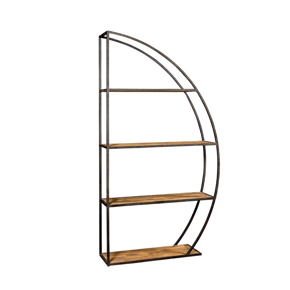 etagere 4 niveaux en demi cercle en bois et metal