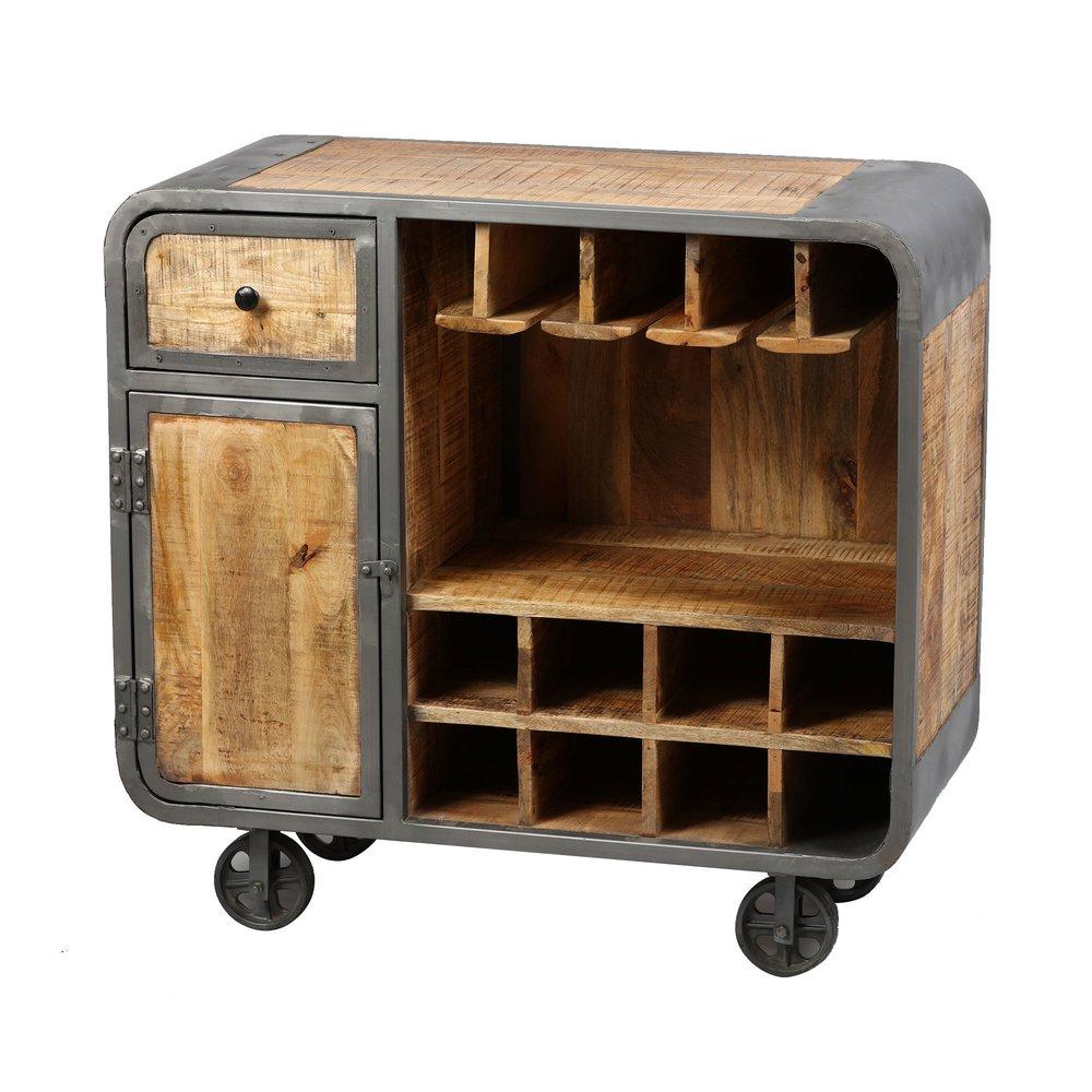 meuble bar sur roulettes en bois naturel et metal gris nevada