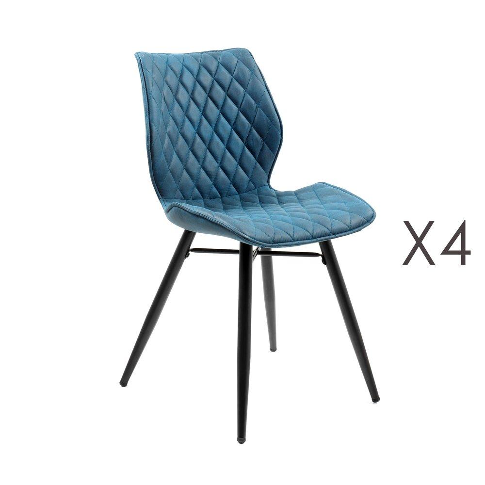 lot de 4 chaises repas en tissu bleu laura