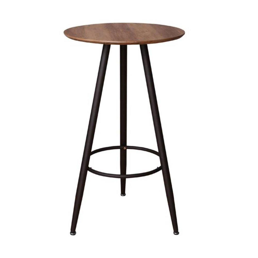 table de bar ronde 60x103 cm en bois marron et metal noir tekla