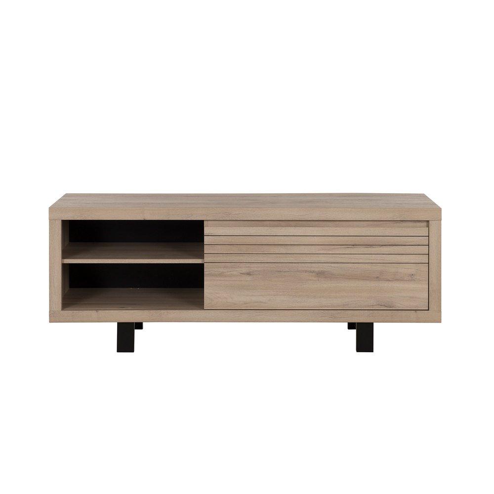 meuble tv 1 tiroir et 2 niches 160 cm chene et noir naxy