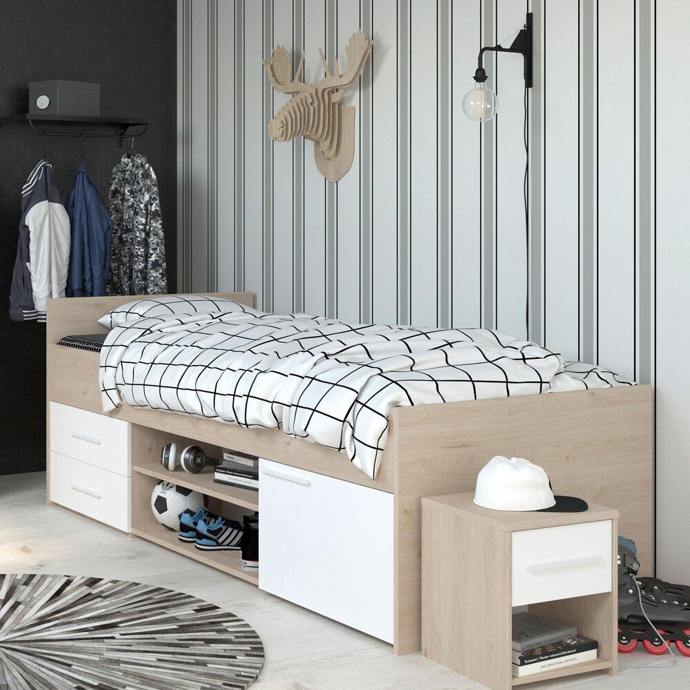 lit 90x190 200 cm avec rangement blanc et chene discree