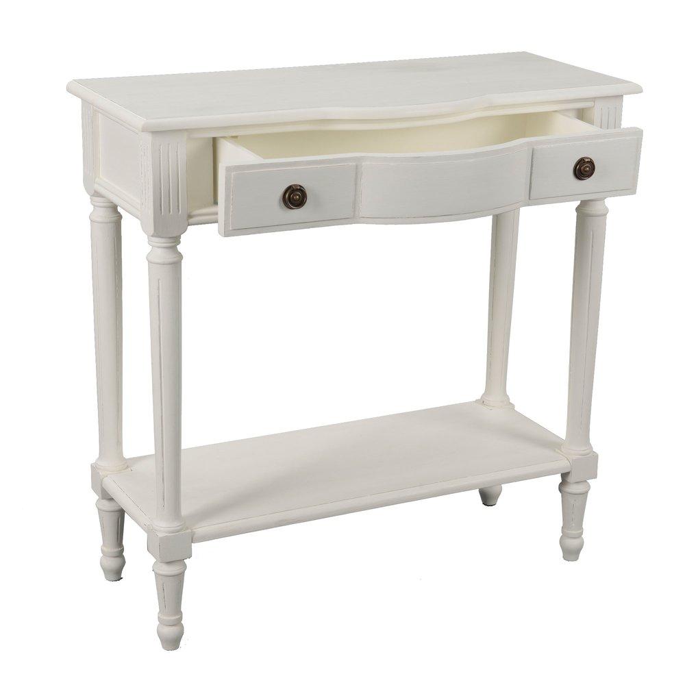 console 1 tiroir et 1 etagere en bois blanc jocelyne