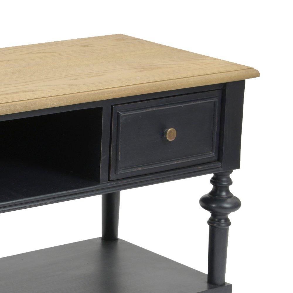 meuble tv 2 tiroirs en bois naturel et noir belmon